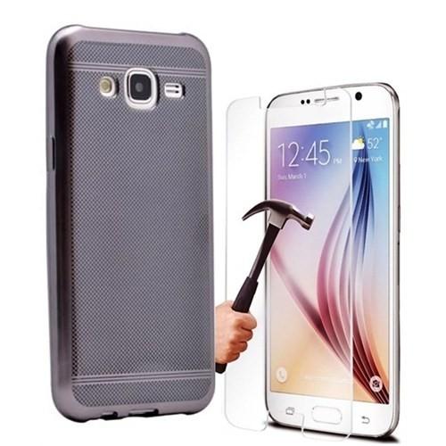 Kılıfshop Samsung Galaxy J7 Strom Silikon Kılıf (Siyah) + Ekran Koruyucu