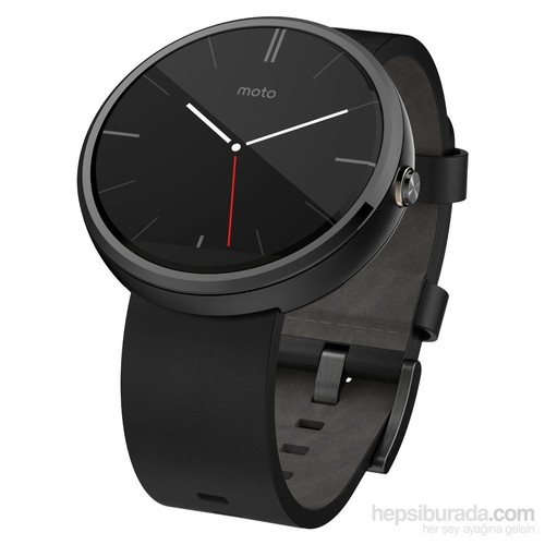 Motorola Moto 360 Siyah Deri Kordon Akıllı Saat