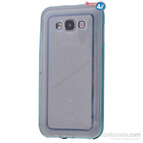 Case 4U Samsung Galaxy E7 Çerçeveli Silikon Kılıf Mavi