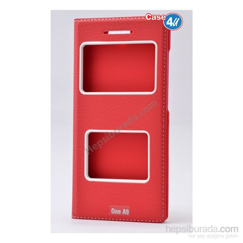 Case 4U Htc One A9 Pencereli Kapaklı Kılıf Kırmızı