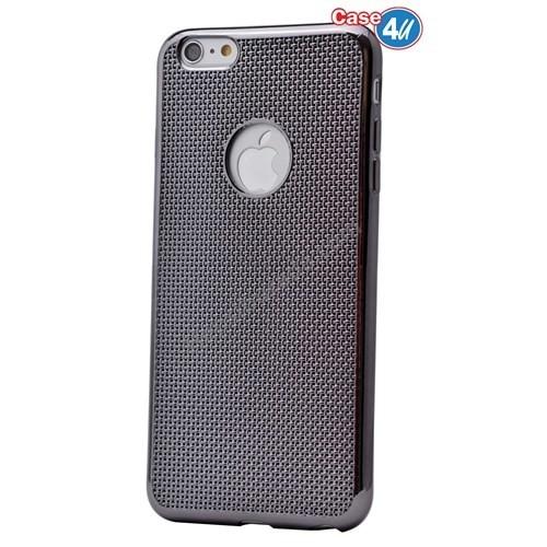 Case 4U Apple İphone 6S Plus Hasır Desenli Ultra İnce Silikon Kılıf Siyah