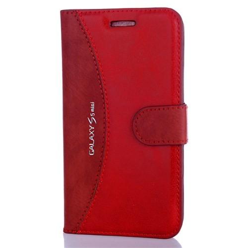 CoverZone Samsung Galaxy S5 Mini Kılıf Deri Cüzdan Kapaklı Kırmızı