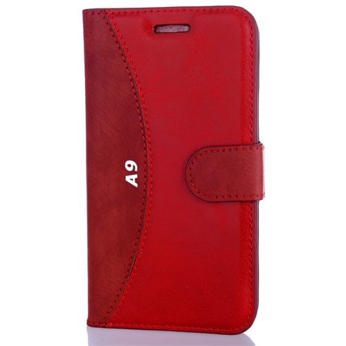 CoverZone Htc One A9 Kılıf Cüzdan Kapaklı Flip Kırmızı