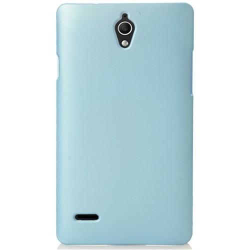 CoverZone Huawei Ascend G700 Kılıf Rubber Sert Arka Kapak Açık Mavi