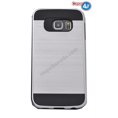Case 4U Samsung Galaxy S6 Edge Korumalı Kapak Gümüş