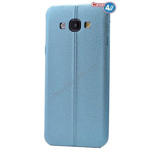 Case 4U Samsung E5 Parlak Desenli Silikon Kılıf Mavi