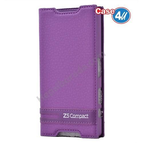 Case 4U Sony Xperia Z5 Compact Gizli Mıknatıslı Kapaklı Kılıf Mor
