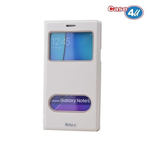Case 4U Samsung Galaxy Note 5 Pencereli Kapaklı Kılıf Beyaz