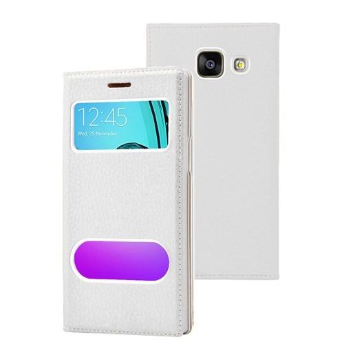 Microsonic Samsung Galaxy A7 2016 Kılıf Gizli Mıknatıslı View Delux Beyaz