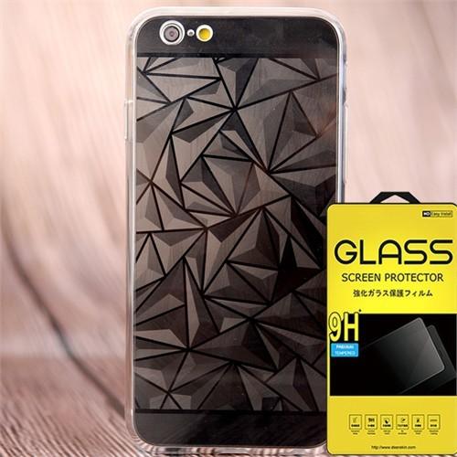 Coverzone Apple iPhone 6 - 6S Kılıf Silikon Prizma Desen + Cam