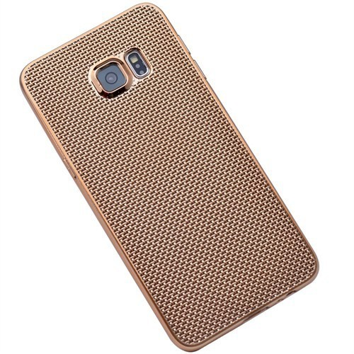 Kılıfshop Samsung Galaxy S6 Edge Plus Silikon Kılıf Hasır Desenli (Gold)