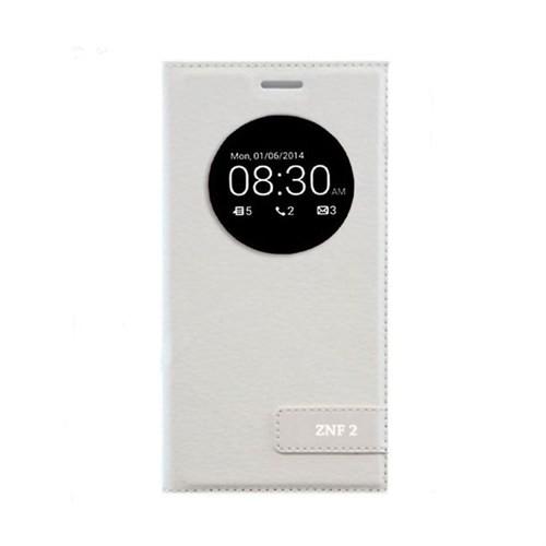 Teleplus Asus Zenfone 2 Pencereli Safir Kılıf Beyaz