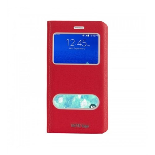Lopard Samsung Galaxy Note Edge Pencereli Kırmızı Dolce Kapaklı Deri Akıllı Kılıf