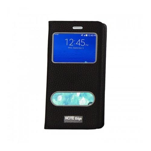 Lopard Samsung Galaxy Note Edge Pencereli Siyah Dolce Kapaklı Deri Akıllı Kılıf