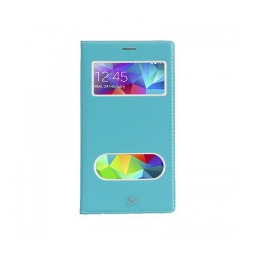 Lopard Samsung Galaxy S5 Pencereli Mavi Dolce Kapaklı Deri Akıllı Kılıf