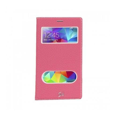 Lopard Samsung Galaxy S5 Pencereli Pembe Dolce Kapaklı Deri Akıllı Kılıf