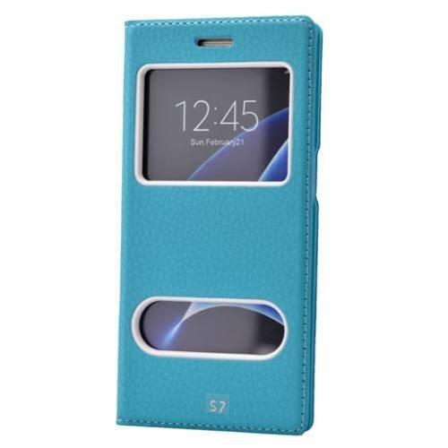 Lopard Samsung Galaxy S7 Pencereli Mavi Dolce Kapaklı Deri Akıllı Kılıf