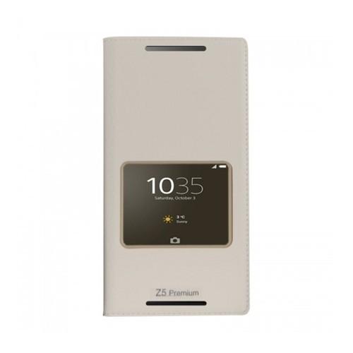 Lopard Sony Xperia Z5 Premium Pencereli Beyaz Dolce Kapaklı Deri Akıllı Kılıf