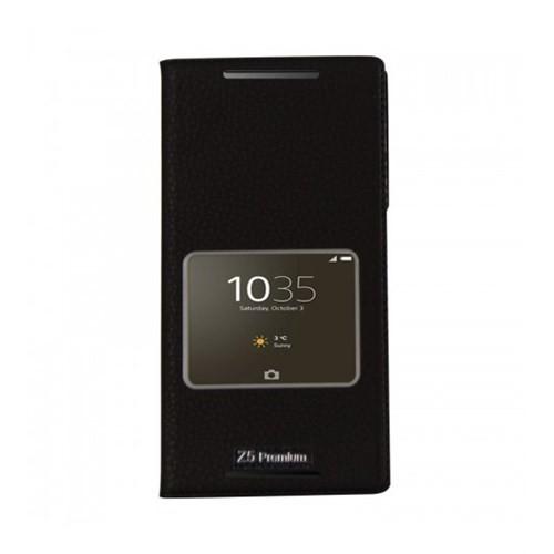 Lopard Sony Xperia Z5 Premium Pencereli Siyah Dolce Kapaklı Deri Akıllı Kılıf