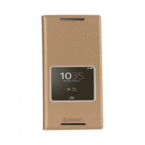 Lopard Sony Xperia M5 Pencereli Dolce Kapaklı Deri Akıllı Gold Kılıf