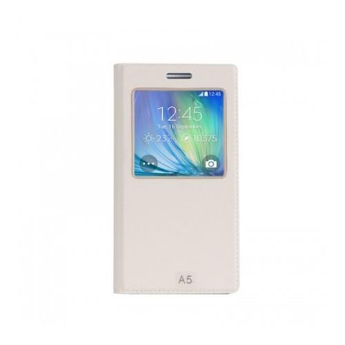 Lopard Samsung Galaxy A7 Pencereli Beyaz Dolce Kapaklı Deri Akıllı Kılıf