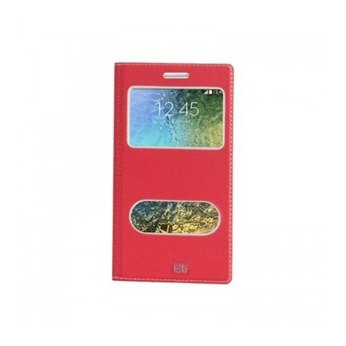 Lopard Samsung Galaxy E5 Pencereli Kırmızı Dolce Kapaklı Deri Akıllı Kılıf