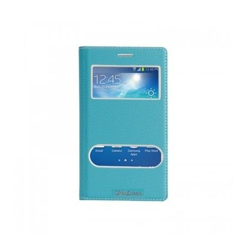 Lopard Samsung Galaxy Grand Neo Pencereli Mavi Dolce Kapaklı Deri Akıllı Kılıf