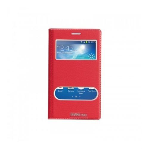 Lopard Samsung Galaxy Grand Neo Pencereli Kırmızı Dolce Kapaklı Deri Akıllı Kılıf