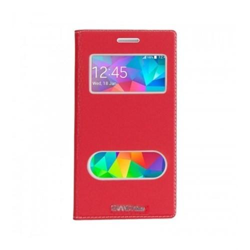 Lopard Samsung Galaxy Grand Prime Pencereli Kırmızı Dolce Kapaklı Deri Akıllı Kılıf