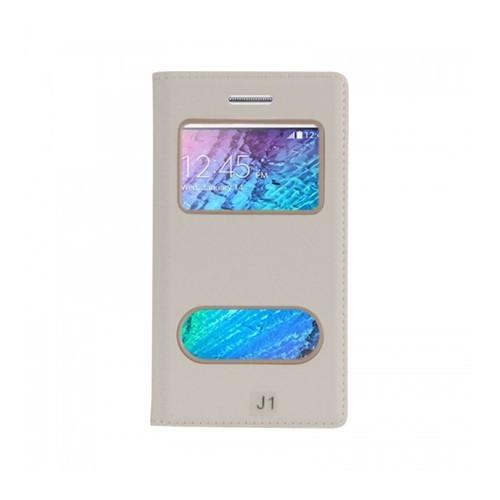 Lopard Samsung Galaxy J1 Pencereli Beyaz Dolce Kapaklı Deri Akıllı Kılıf