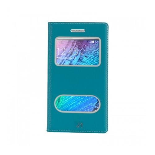 Lopard Samsung Galaxy J1 Pencereli Mavi Dolce Kapaklı Deri Akıllı Kılıf