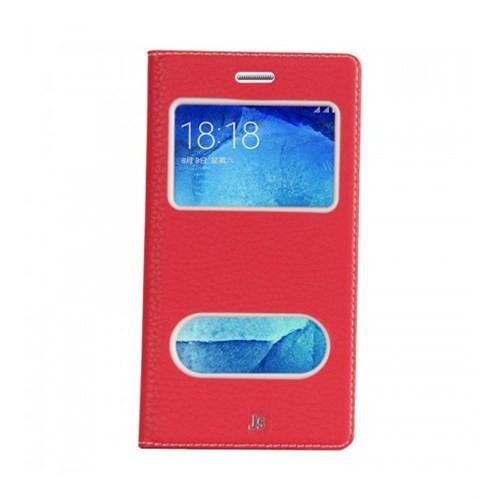 Lopard Samsung Galaxy J5 Pencereli Kırmızı Dolce Kapaklı Deri Akıllı Kılıf