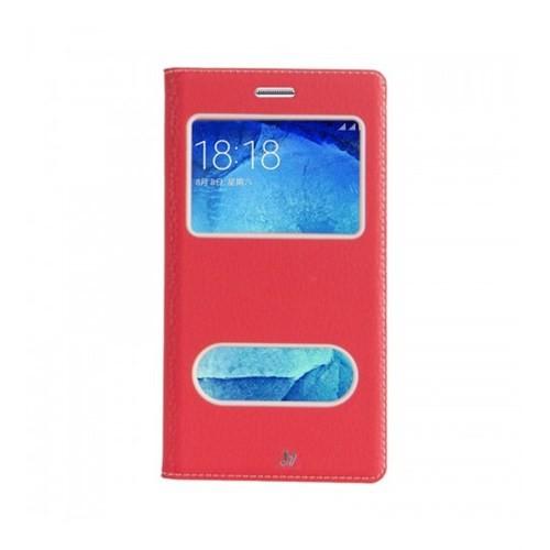 Lopard Samsung Galaxy J7 Pencereli Kırmızı Dolce Kapaklı Deri Akıllı Kılıf