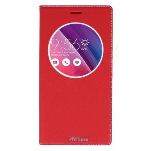 Lopard Asus Zenfone 5 Pencereli Kırmızı Dolce Kapaklı Deri Akıllı Kılıf