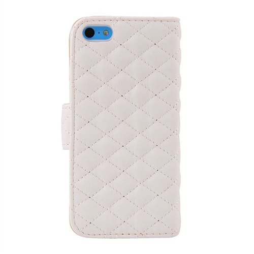 Vacca Apple İphone 5C Kapitone Yan Cüzdan Tip Kilif S-Line Beyaz