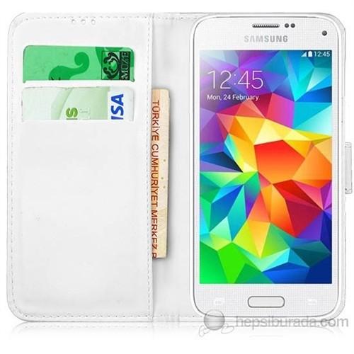 Teknomeg Samsung Galaxy S5 Mini Beyaz Cüzdan Kılıf Beyaz