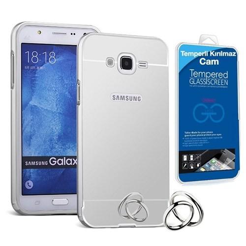 Teleplus Samsung Galaxy J1 Ace Aynalı Metal Kapak Kılıf Gümüş + Cam Ekran Koruyucu