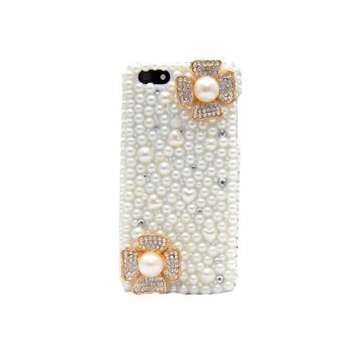 Vacca Apple İphone 5 - 3D İnci Çiçekleri - Boncuk Desenli - Kapak