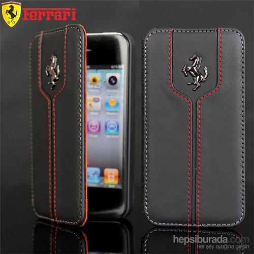 Coverzone İphone 4 4S Kılıf Ferrari Orjinal Yan Kapaklı
