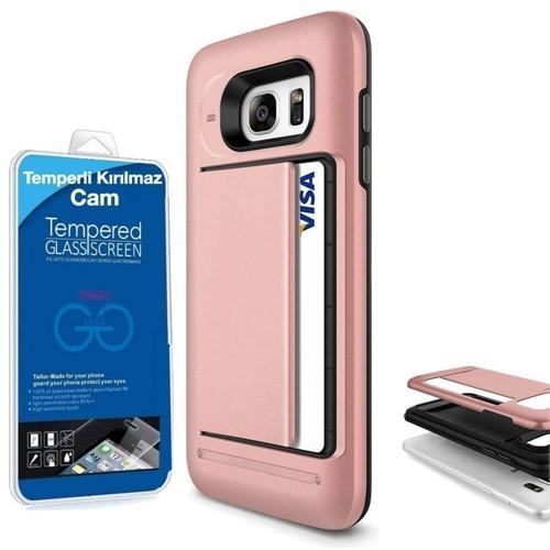 Teleplus Samsung Galaxy Note 5 Çift Koruma Cüzdanlı Kapak Kılıf Rose Gold + Cam Ekran Koruyucu