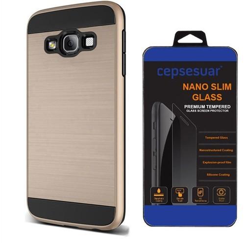 Cepsesuar Samsung Galaxy E5 Kılıf Design Gold + Cam