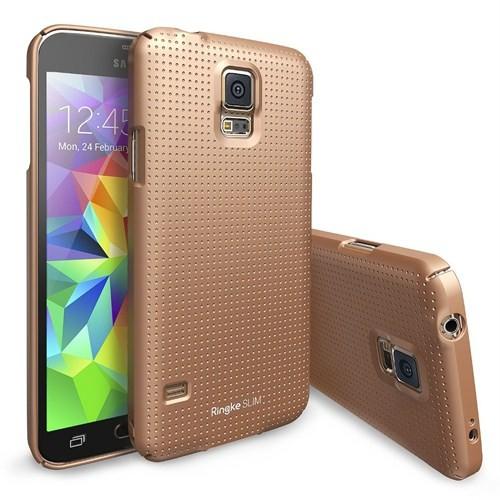 Rearth Samsung Galaxy S5 Desenli Altın Ringke Slim Kılıf