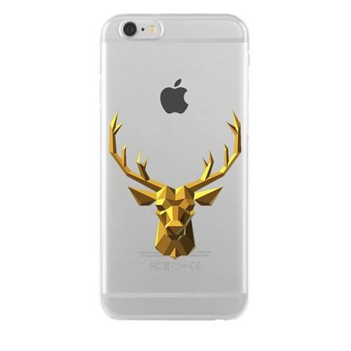 Remeto iPhone 6/6S Şeffaf Silikon Resimli Zırhlı Sarı Geyik