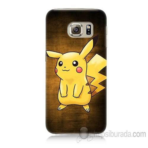 Teknomeg Samsung Galaxy S6 Kapak Kılıf Pokemon Pikachu Baskılı Silikon