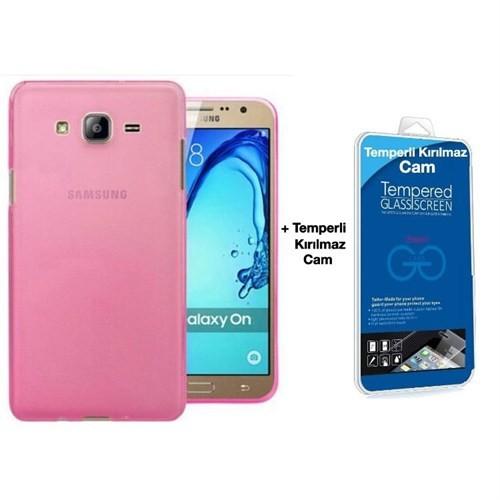 Teleplus Samsung Galaxy On7 Tam Korumalı Silikon Kılıf Pembe + Cam Ekran Koruyucu
