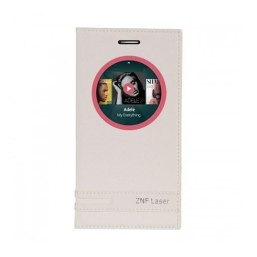 Lopard Asus Zenfone 2 Laser Ze500kl Kılıf Kapaklı Pencereli Ellite Case Deri Beyaz
