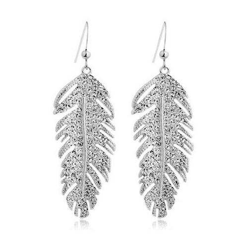Betico Fashion Gümüş Yaprak Küpe