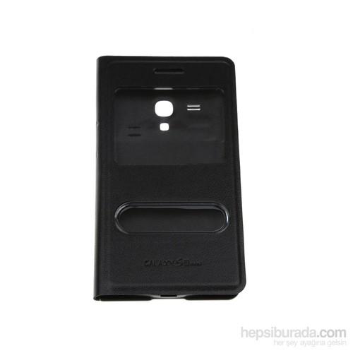 Case 4U Samsung S3 Mini i8190 Pencereli Flip Cover Siyah