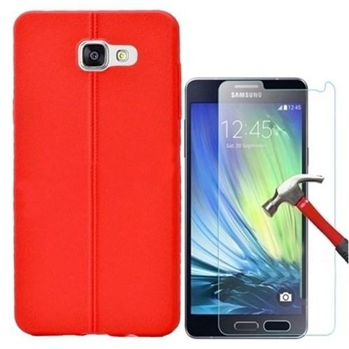 Kılıfshop Samsung Galaxy A7 2016 Silikon Kılıf Dikiş Desenli + Ekran Koruyucu - Kırmızı