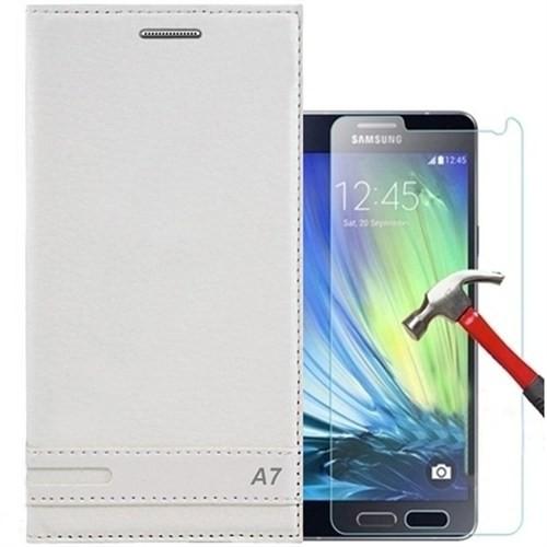 Kılıfshop Samsung Galaxy A7 2016 Kapaklı Magnum Kılıf + Ekran Koruyucu - Beyaz
